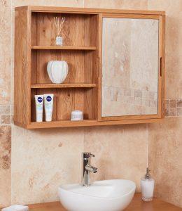 Baumhaus Mobel Oak Bathroom Collection – Solid Oak Mirrored wall shelf unit