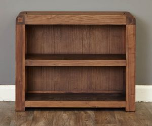 Baumhaus Shiro Solid Walnut Low Bookcase with 2 Shelves | Fully Assembled