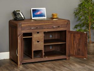 Baumhaus Shiro Solid Walnut Hidden Home Office | Fully Assembled