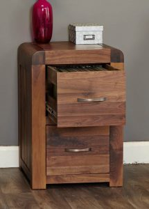 Baumhaus Shiro Solid Walnut Two Drawer Filing Cabinet | Fully Assembled
