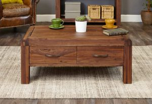 Baumhaus Shiro Solid Walnut Four Drawer Coffee Table | Fully Assembled