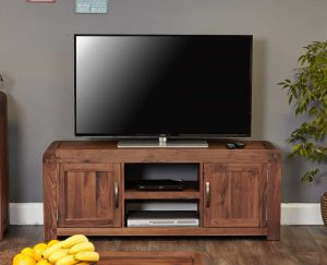 Baumhaus Shiro Solid Walnut Widescreen TV Cabinet | Fully Assembled