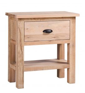 Besp-Oak Vancouver Sawn White Wash Oak 1 Drawer Console Hall Table | Fully Assembled