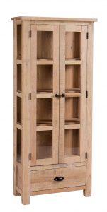 Besp-Oak Vancouver Sawn White Wash Oak Glazed Display Cabinet | Fully Assembled