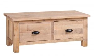 Besp-Oak Vancouver Sawn White Wash Oak Large 2 Drawer Coffee Table | Fully Assembled