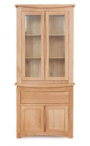 Baumhaus Roscoe Contemporary Oak Display Cabinet (Top Only) | Fully Assembled