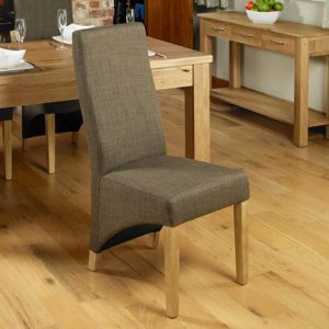 Baumhaus Mobel Oak Full Back Upholstered Dining Chair (Pack of Two)
