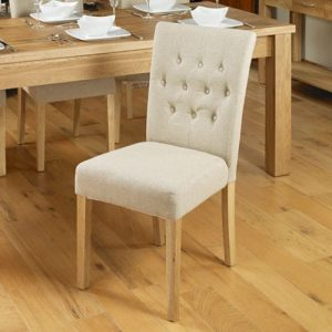 Baumhaus Mobel Oak Flare Back Biscuit Shade Upholstered Dining Chair (Pack of Two)