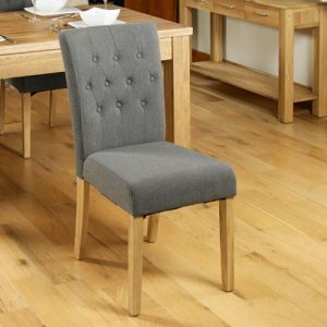 Baumhaus Mobel Oak Flare Back Slate Shade Upholstered Dining Chair (Pack of Two)