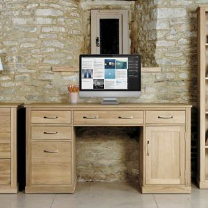 Baumhaus Mobel Oak Twin Pedestal Computer Desk