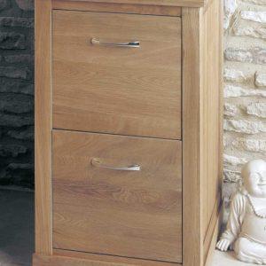 Homestyle Z Solid Oak 2 Drawer Filing Cabinet | Fully Assembled