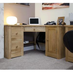 Homestyle Torino Solid Oak Corner Computer Desk | Fully Assembled
