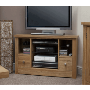 Homestyle Torino Solid Oak 2 Drawer Corner TV | Fully Assembled