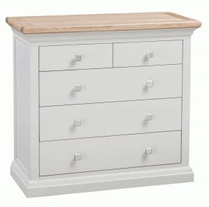 Homestyle Cotswold Grey With Oak Top 2 over 3 Drawer Chest | Fully Assembled