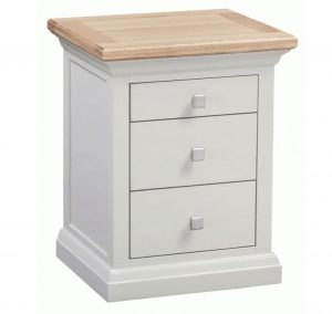 Homestyle Cotswold Grey With Oak Top 3 Drawer Bedside Cabinet | Fully Assembled
