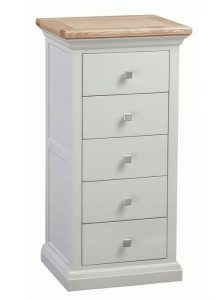 Homestyle Cotswold Grey With Oak Top 5 Drawer Tallboy Chest | Fully Assembled