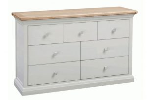 Homestyle Cotswold Grey With Oak Top 7 Drawer Chest | Fully Assembled