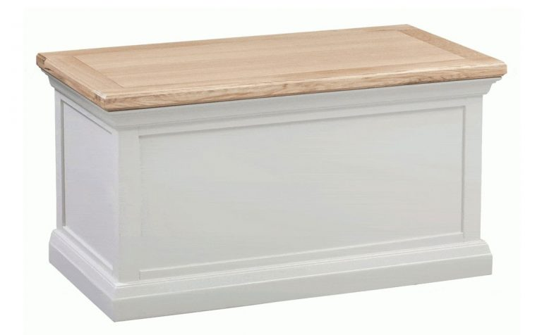 Homestyle Cotswold Grey With Oak Top Blanket Box   Fully Assembled