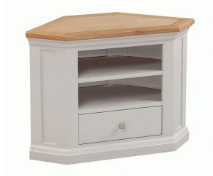 Homestyle Cotswold Grey With Oak Top 1 Drawer Corner TV Cabinet | Fully Assembled