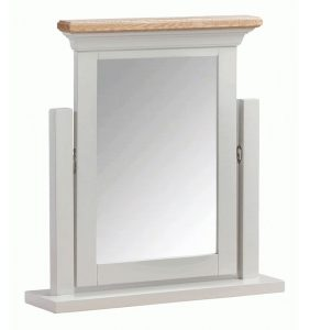 Homestyle Cotswold Grey With Oak Top Dressing Table Mirror | Fully Assembled