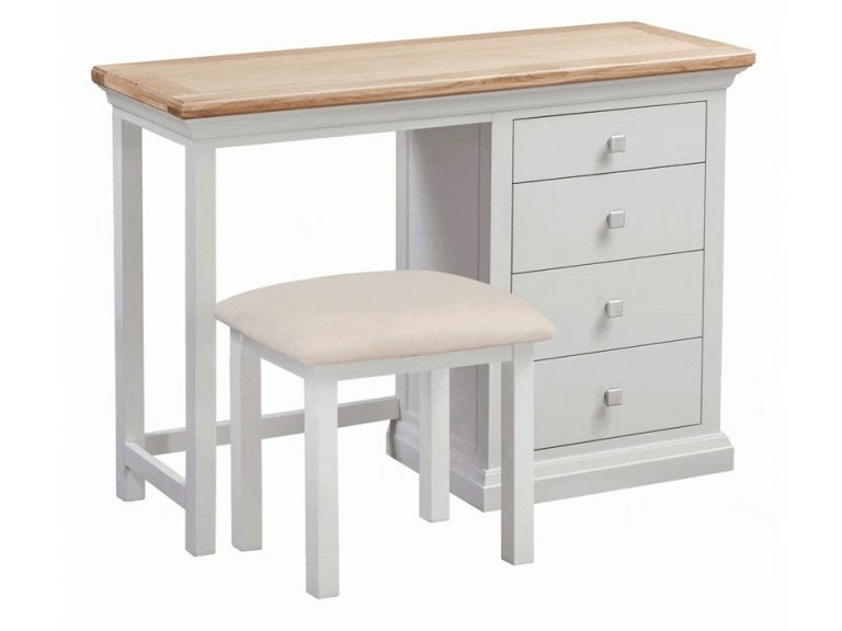 Homestyle Cotswold Grey With Oak Top Dressing Table and Stool   Fully Assembled