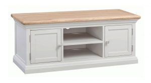 Homestyle Cotswold Grey With Oak Top 2 Door Large TV Cabinet | Fully Assembled