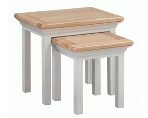 Homestyle Cotswold Grey With Oak Top Nest of Tables | Fully Assembled