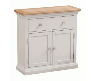 Homestyle Cotswold Grey With Oak Top 2 Door & 1 Drawer Small Sideboard | Fully Assembled