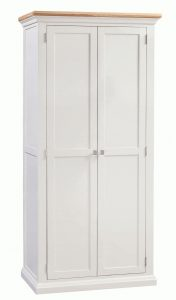 Homestyle Cotswold Painted Grey with Oak Top Ladies 2 Door Wardrobe