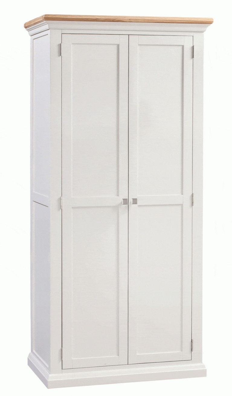 Homestyle Cotswold Painted Grey with Oak Top Ladies 2 Door Wardrobe