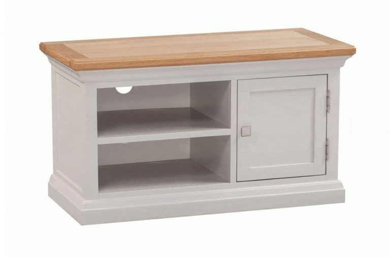 Homestyle Cotswold Grey With Oak Top 1 Door TV Cabinet   Fully Assembled