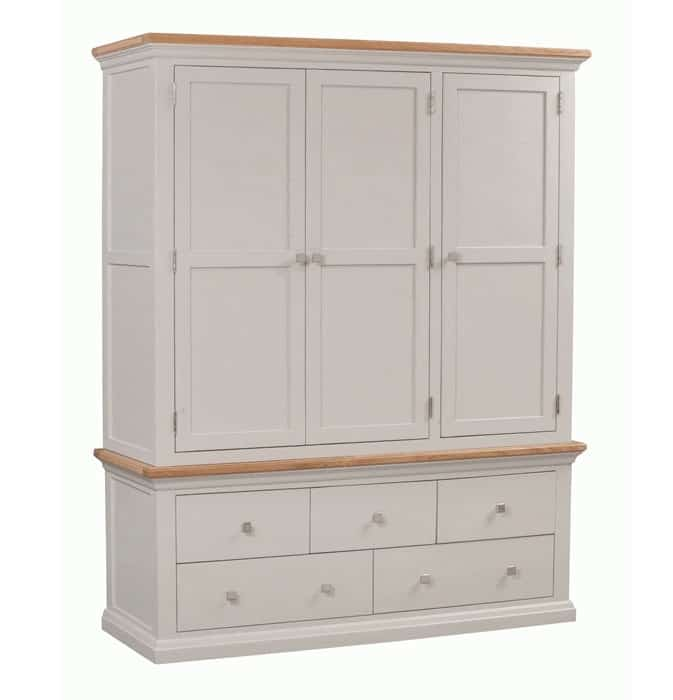 Homestyle Cotswold Painted Grey With Oak Top 3 Door & 5 Drawer Triple Wardrobe