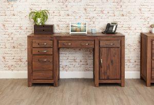 Baumhaus Mayan Walnut Twin Pedestal Computer Desk