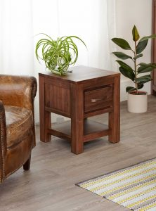Baumhaus Mayan Walnut 1 Drawer Lamp Table | Fully Assembled