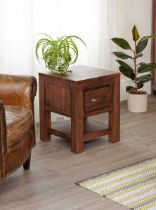Baumhaus Mayan Walnut 1 Drawer Lamp Table | Fully Assembled