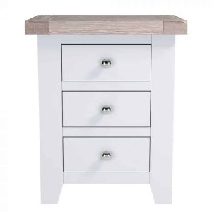 Hampshire Light Grey With Chalked Oak Tops 3 Drawer Bedside Cabinet | Fully Assembled