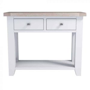 Hampshire Light Grey With Chalked Oak Tops Console Table With 2 Drawers
