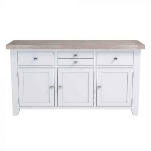 Hampshire Light Grey With Chalked Oak Tops Large 3 Door 3 Drawer Sideboard | Fully Assembled