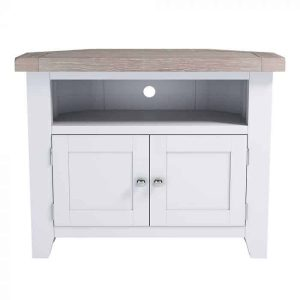 Hampshire Light Grey With Chalked Oak Tops 2 Door Corner TV Unit | Fully Assembled
