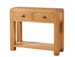 Avon Waxed Oak 2 Drawer Console Table | Fully Assembled