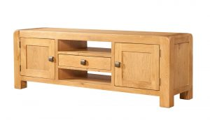Avon Waxed Oak 2 Door Wide TV Unit | Fully Assembled