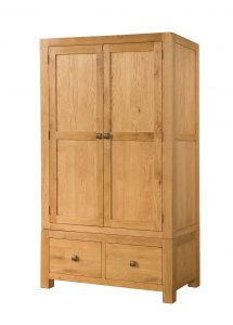 Avon Waxed Oak 2 Door Double Wardrobe with Drawers
