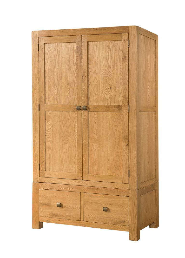 Avon Waxed Oak 2 Door Double Wardrobe with Drawers