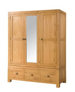 Avon Waxed Oak Triple Wardrobe with Drawers & Mirror