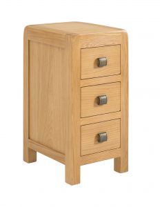 Avon Waxed Oak 3 Drawer Compact Bedside | Fully Assembled