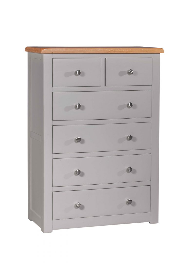 Homestyle Diamond Painted Grey 2 over 4 Drawer Chest | Fully Assembled