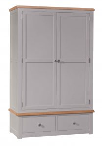 Homestyle Diamond Painted Grey 2 Door Gents Wardrobe With Drawers