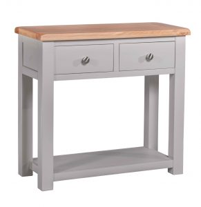 Homestyle Diamond Painted Grey 2 Drawer Hall / Console Table