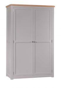 Homestyle Diamond Painted Grey 2 Door Full Hanging Robe Wardrobe