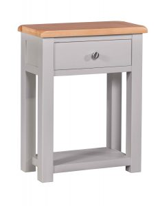 Homestyle Diamond Painted Grey 1 Drawer Small Hall / Console Table